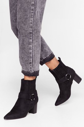Nasty Gal Womens Faux Suede Heeled Boots with Block Heel - Black