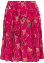 Valentino Pleated Floral-print Silk-chiffon Skirt - Fuchsia