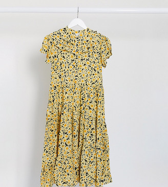 Topshop Petite daisy print midi dress in yellow
