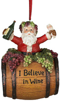 Kurt Adler 'I Believe in Wine' Santa on Wine Barrel Ornament