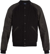 Polo Ralph Lauren Leather-trimmed wool-blend bomber jacket