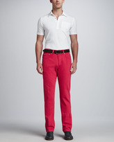 Kiton Washed Twill Five-Pocket Pants, Red