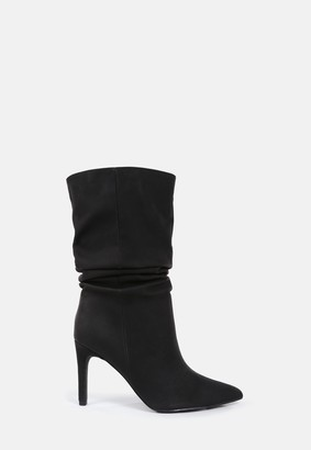 Missguided Black Faux Suede Ruched Stiletto Ankle Boots