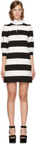 Marc Jacobs Black and White Striped Puff Sleeve Dress