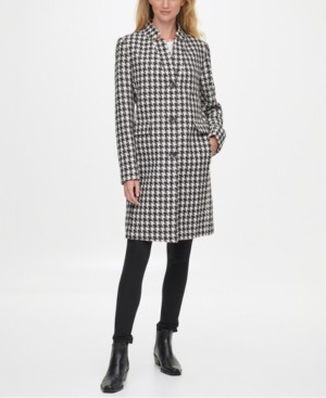 DKNY Single-Breasted Houndstooth Reefer Coat, Created for Macy's