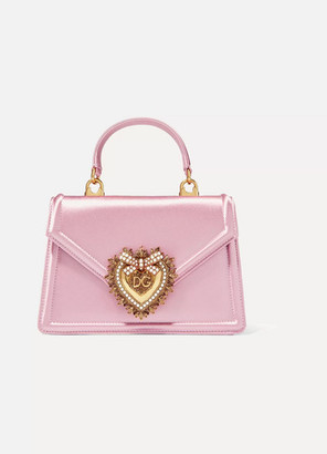 Dolce & Gabbana Devotion Mini Embellished Satin Shoulder Bag - Pink