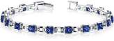 Ice 6 CT TW Princess Cut Sapphire Sterling Silver Rhodium Nickel Finish Bracelet