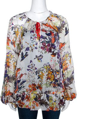 Roberto Cavalli Multicolor Bird Print Silk Sheer Kaftan Top L