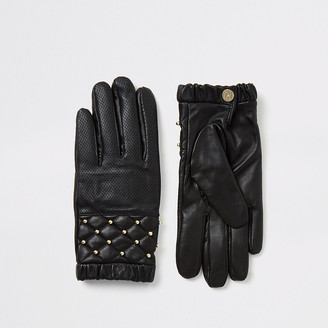 River Island Black leather quilted stud gloves