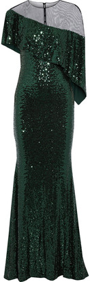 Badgley Mischka Layered Tulle-paneled Sequined Stretch-mesh Gown