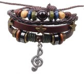 Ying Womens Girls Lether Brcelet Blck Multi-Stnds Brided Cuff Wrp Wristbnd