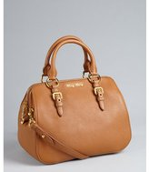 Miu Miu Miu tan pebbled leather convertible tote