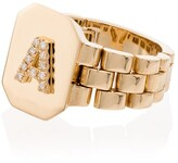 Shay 18kt yellow gold diamond A initial ring