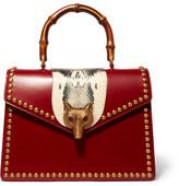 Gucci Linea E Bamboo Elaphe-paneled Leather Tote - Red
