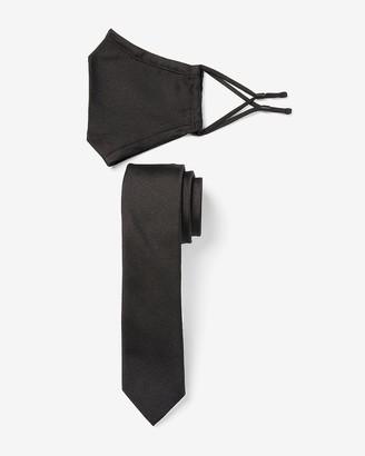 Express Solid Black Fask Mask & Tie Gift Set