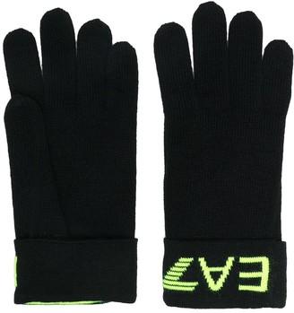 EA7 Emporio Armani Intarsia Logo Knit Gloves
