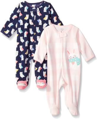 Carter's Baby Girls' 2-Pack Microfleece Sleep and Play