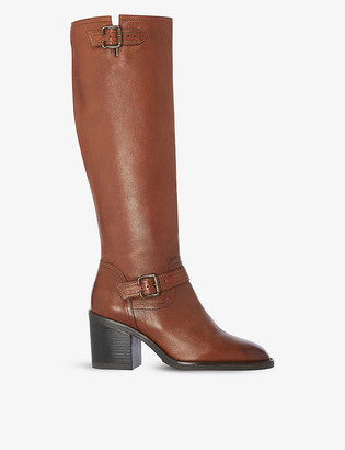 Dune Trelis double-buckle leather knee-high boots