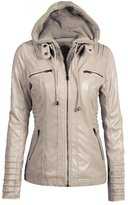 LOVEBEAUTY Women's Faux Leather Moto Everyday Bomber Jacket with Hoodie S