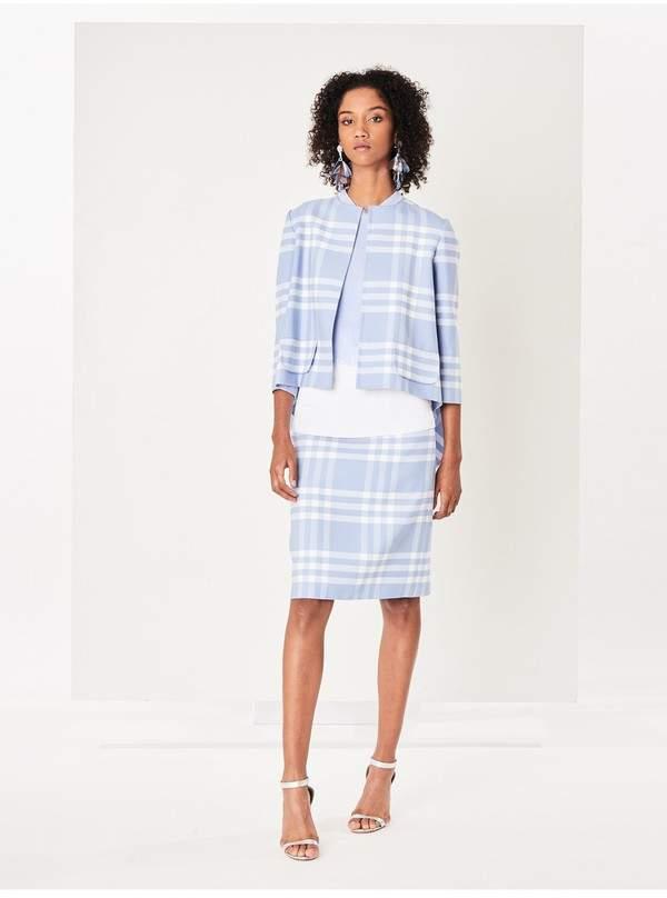 Oscar de la Renta Large Check Double-Face Wool Skirt