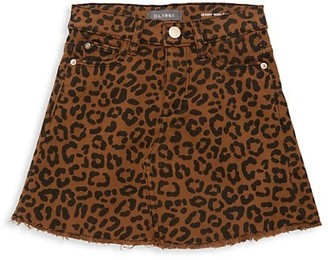 DL1961 Girl's Jenny Leopard-Print Mini Skirt