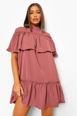 boohoo High Neck Ruffle Smock Dress