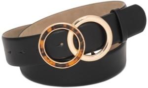 INC International Concepts Inc Round Tortoiseshell Buckle Panel Belt, Created for Macy's