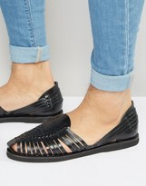 Kg Kurt Geiger Kg By Kurt Geiger Woven Sandals In Black Leather