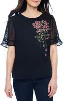 Liz Claiborne Elbow Sleeve Round Neck Chiffon Embroidered Blouse-Petites