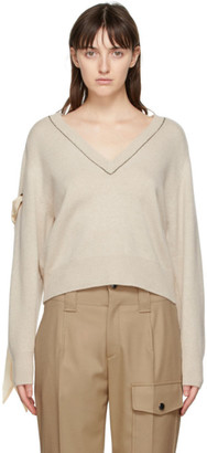 Chloé Beige Cashmere V-Neck Sweater