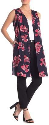 Pleione Floral Open Duster Vest