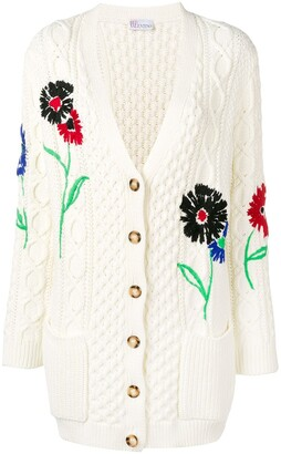 RED Valentino Floral-Embroidered Cable-Knit Cardigan
