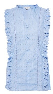 Dorothy Perkins Womens Billie & Blossom Blue Dobby Button Front Shirt, Blue