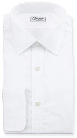 Charvet Poplin Barrel-Cuff Dress Shirt, White