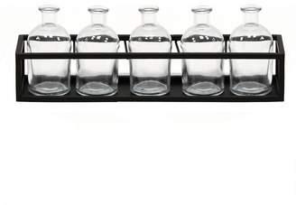 Black/Clear Glass Vase 6-Piece Set
