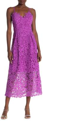 One One Six Echo Spaghetti Strap Lace Midi Dress