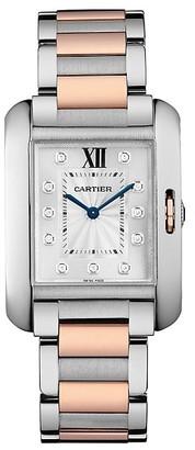 Cartier Tank Anglaise Medium 18K Rose Gold, Stainless Steel & Diamond Bracelet Watch