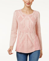 Style&Co. Style & Co Cotton Patterned Sweater, Only at Macy's