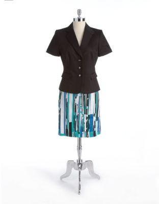 Tahari ARTHUR S. LEVINE Two-Piece Stretch Cotton Skirt Suit