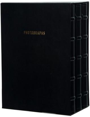Pinnacle Premium Leather Photo Albums, Holds 180 4x6 Photos, Set of 3, Black