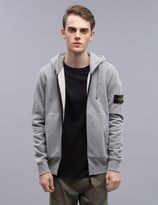 Stone Island Zip Hoodie With Logo Arm Patch