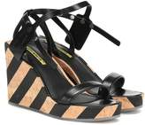 Off-White Off White Zip Tie leather wedge sandals