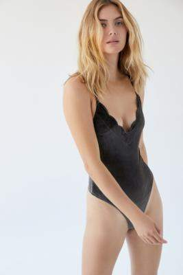 Out From Under Akoya Velvet Scalloped Plunging Bodysuit - grey XS at Urban Outfitters