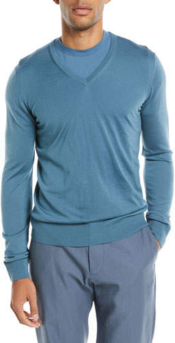Giorgio Armani Lightweight V-Neck Wool Pullover Sweater, Light Blue