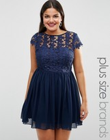 Club L Plus Skater Dress With Crochet Top