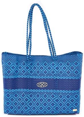 Lolas Bag Sea Blue Stripe Travel Tote Bag With Clutch