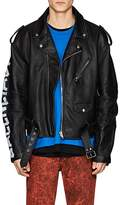 Balenciaga Men's Logo-Sleeve Leather Moto Jacket