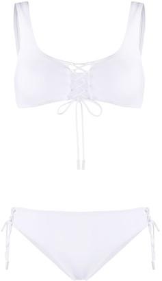 Off-White Crisscross Lace-Up Bikini