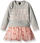 GUESS Little Girls' Quilted Fleece with Applique and Glitter Tulle Dress