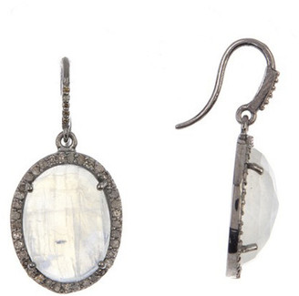 Adornia Fine Jewelry Silver 19.20 Ct. Tw. Diamond & Moonstone Drop Earrings